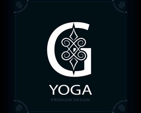 Capital Letter G. Magic Style. Modern Logo. Creative Insignia. Calligraphic Elegant Emblem for Book Design, Brand Name, Business Card, Yoga Center, Restaurant, Boutique, Hotel. Vector illustration