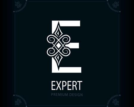 Capital Letter E. Magic Style. Modern Logo. Creative Insignia. Calligraphic Elegant Emblem for Book Design, Brand Name, Business Card, Yoga Center, Restaurant, Boutique, Hotel. Vector illustration