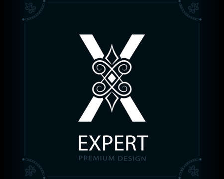 Capital Letter X. Magic Style. Modern Logo. Creative Insignia. Calligraphic Elegant Emblem for Book Design, Brand Name, Business Card, Yoga Center, Restaurant, Boutique, Hotel. Vector illustration