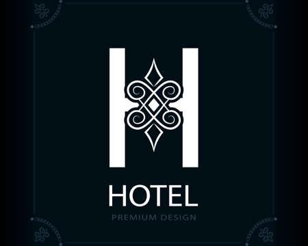 Capital Letter H. Magic Style. Modern Logo. Creative Insignia. Calligraphic Elegant Emblem for Book Design, Brand Name, Business Card, Yoga Center, Restaurant, Boutique, Hotel. Vector illustration