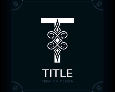Capital Letter T. Magic Style. Modern Logo. Creative Insignia. Calligraphic Elegant Emblem for Book Design, Brand Name, Business Card, Yoga Center, Restaurant, Boutique, Hotel. Vector illustration Stock Illustratie