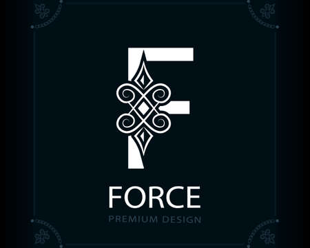 Capital Letter F. Magic Style. Modern Logo. Creative Insignia. Calligraphic Elegant Emblem for Book Design, Brand Name, Business Card, Yoga Center, Restaurant, Boutique, Hotel. Vector illustration