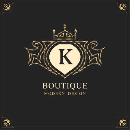 Capital Letter K. Linear Monogram. Elegant Modern Logo. Calligraphic Design. Luxury Emblem. Vintage Ornament. Simple Graphics Style. Flourishes Boutique Brand. Creative Royal Mark. Vector illustration Stock Illustratie