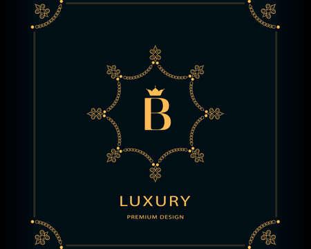 Luxury Emblem. Capital Letter B. Linear Monogram. Elegant Modern Logo. Calligraphic Design. Graphics Style. Flourishes Boutique Brand. Creative Vector illustration