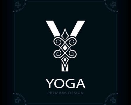 Capital Letter Y. Magic Style. Modern Logo. Creative Insignia. Calligraphic Elegant Emblem for Book Design, Brand Name, Business Card, Yoga Center, Restaurant, Boutique, Hotel. Vector illustration Stock Illustratie