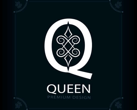Capital Letter Q. Magic Style. Modern Logo. Creative Insignia. Calligraphic Elegant Emblem for Book Design, Brand Name, Business Card, Yoga Center, Restaurant, Boutique, Hotel. Vector illustration Stock Illustratie