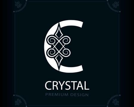 Capital Letter C. Magic Style. Modern Logo. Creative Insignia. Calligraphic Elegant Emblem for Book Design, Brand Name, Business Card, Yoga Center, Restaurant, Boutique, Hotel. Vector illustration