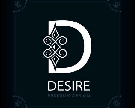 Capital Letter D. Magic Style. Modern Logo. Creative Insignia. Calligraphic Elegant Emblem for Book Design, Brand Name, Business Card, Yoga Center, Restaurant, Boutique, Hotel. Vector illustration