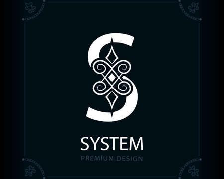 Capital Letter S. Magic Style. Modern Logo. Creative Insignia. Calligraphic Elegant Emblem for Book Design, Brand Name, Business Card, Yoga Center, Restaurant, Boutique, Hotel. Vector illustration