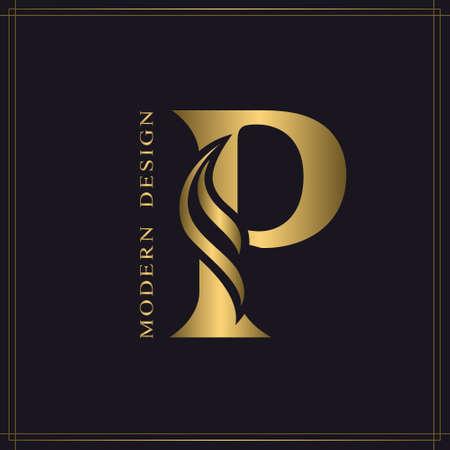 Elegante letra mayúscula P. Graceful Royal Style. Hermoso logotipo caligráfico. Emblema dibujado en oro vintage para diseño de libros, nombre de marca, tarjeta de visita, restaurante, boutique, hotel. Ilustración vectorial