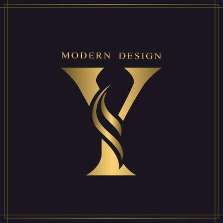 Elegant Capital letter Y. Graceful Royal Style. Calligraphic Beautiful Logo. Vintage Gold Drawn Emblem for Book Design, Brand Name, Business Card, Restaurant, Boutique, Hotel. Vector illustration Stock Illustratie