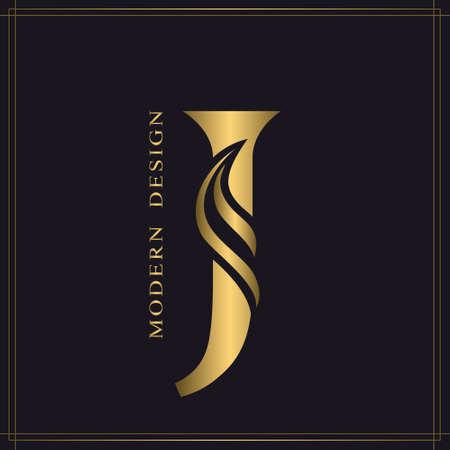 Elegant Capital letter J. Graceful Royal Style. Calligraphic Beautiful Logo. Vintage Gold Drawn Emblem for Book Design, Brand Name, Business Card, Restaurant, Boutique, Hotel. Vector illustration