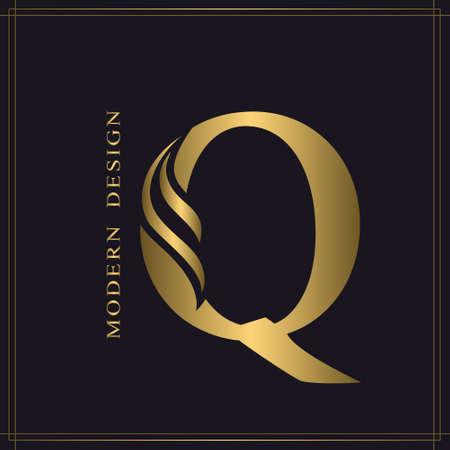 Elegant Capital letter Q. Graceful Royal Style. Calligraphic Beautiful Logo. Vintage Gold Drawn Emblem for Book Design, Brand Name, Business Card, Restaurant, Boutique, Hotel. Vector illustration Stock Illustratie