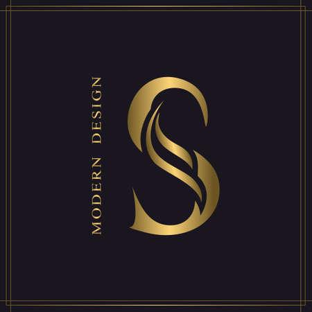 Elegant Capital letter S. Graceful Royal Style. Calligraphic Beautiful Logo. Vintage Gold Drawn Emblem for Book Design, Brand Name, Business Card, Restaurant, Boutique, Hotel. Vector illustration