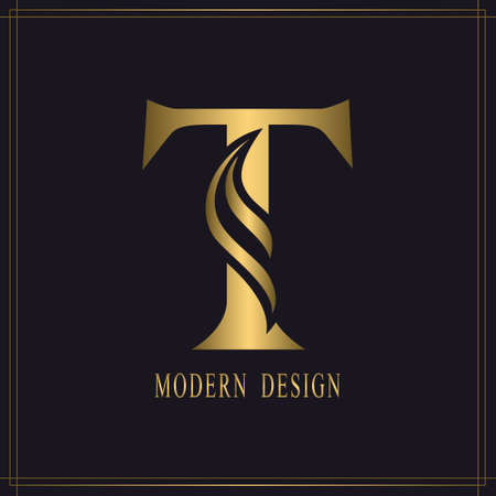 Elegant Capital letter T. Graceful Royal Style. Calligraphic Beautiful Logo. Vintage Gold Drawn Emblem for Book Design, Brand Name, Business Card, Restaurant, Boutique, Hotel. Vector illustration Stock Illustratie