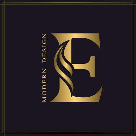 Elegant Capital letter E. Graceful Royal Style. Calligraphic Beautiful Logo. Vintage Gold Drawn Emblem for Book Design, Brand Name, Business Card, Restaurant, Boutique, Hotel. Vector illustration