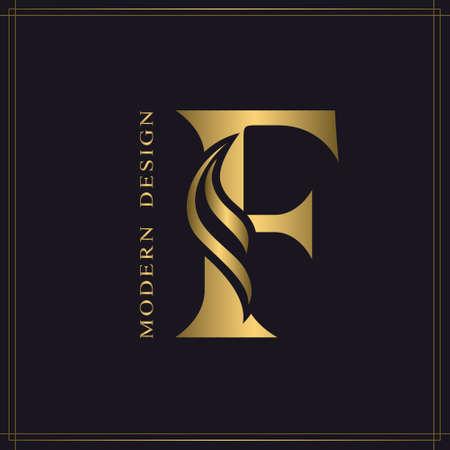 Elegant Capital letter F. Graceful Royal Style. Calligraphic Beautiful Logo. Vintage Gold Drawn Emblem for Book Design, Brand Name, Business Card, Restaurant, Boutique, Hotel. Vector illustration