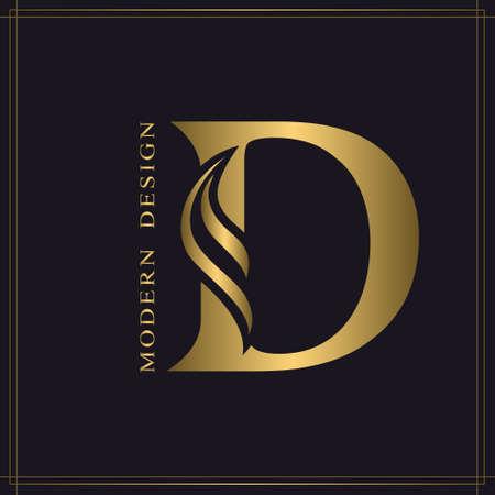 Elegant Capital letter D. Graceful Royal Style. Calligraphic Beautiful Logo. Vintage Gold Drawn Emblem for Book Design, Brand Name, Business Card, Restaurant, Boutique, Hotel. Vector illustration