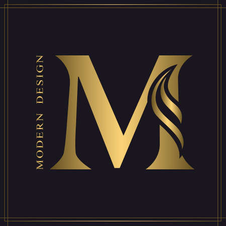 Elegant Capital letter M. Graceful Royal Style. Calligraphic Beautiful Logo. Vintage Gold Drawn Emblem for Book Design, Brand Name, Business Card, Restaurant, Boutique, Hotel. Vector illustration