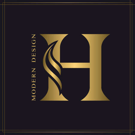 Elegant Capital letter H. Graceful Royal Style. Calligraphic Beautiful Logo. Vintage Gold Drawn Emblem for Book Design, Brand Name, Business Card, Restaurant, Boutique, Hotel. Vector illustration
