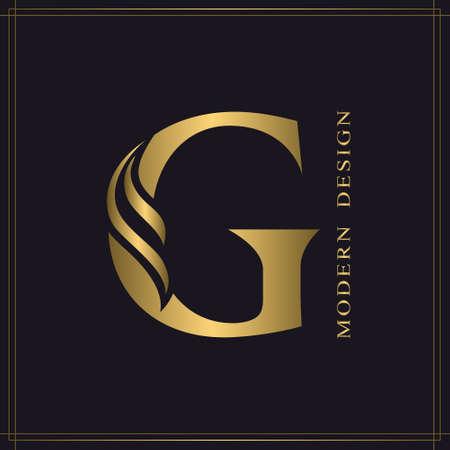 Elegant Capital letter G. Graceful Royal Style. Calligraphic Beautiful Logo. Vintage Gold Drawn Emblem for Book Design, Brand Name, Business Card, Restaurant, Boutique, Hotel. Vector illustration Stock Illustratie