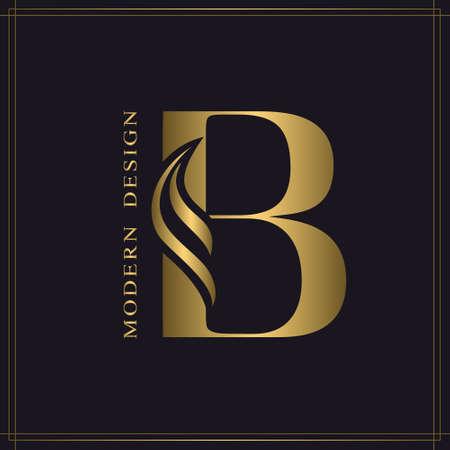 Elegante letra mayúscula B. Elegante estilo real. Hermoso logotipo caligráfico. Emblema dibujado en oro vintage para diseño de libros, nombre de marca, tarjeta de visita, restaurante, boutique, hotel. Ilustración vectorial