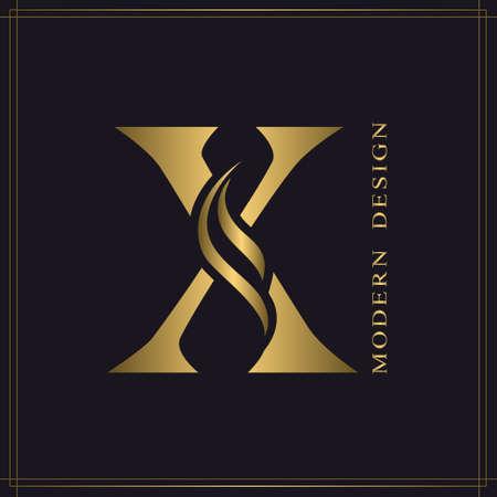Elegant Capital letter X. Graceful Royal Style. Calligraphic Beautiful Logo. Vintage Gold Drawn Emblem for Book Design, Brand Name, Business Card, Restaurant, Boutique, Hotel. Vector illustration Stock Illustratie