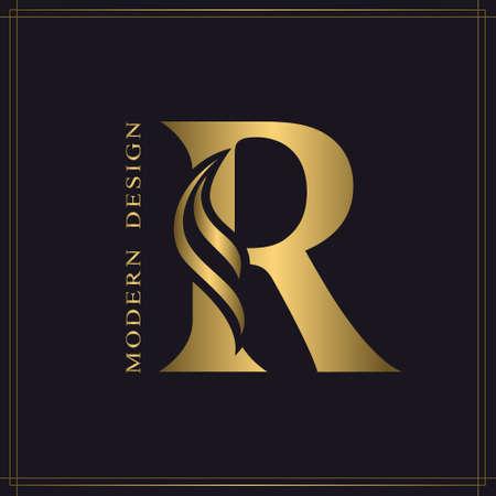 Elegant Capital letter R. Graceful Royal Style. Calligraphic Beautiful Logo. Vintage Gold Drawn Emblem for Book Design, Brand Name, Business Card, Restaurant, Boutique, Hotel. Vector illustration Stock Illustratie
