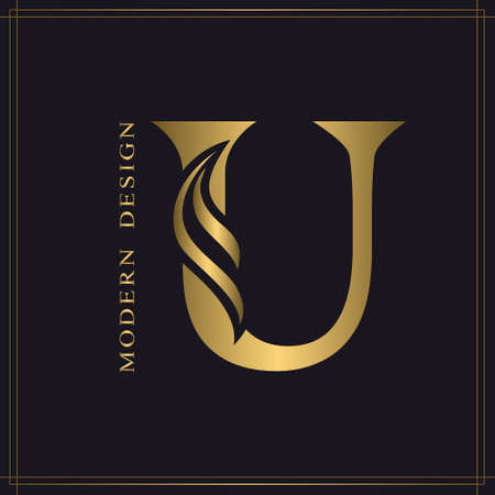 Elegant Capital letter U. Graceful Royal Style. Calligraphic Beautiful Logo. Vintage Gold Drawn Emblem for Book Design, Brand Name, Business Card, Restaurant, Boutique, Hotel. Vector illustration Stock Illustratie