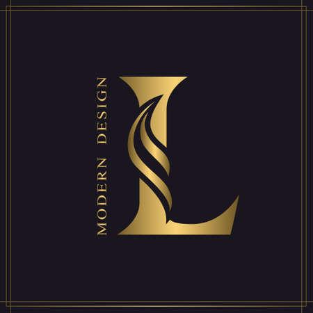 Elegant Capital letter L. Graceful Royal Style. Calligraphic Beautiful Logo. Vintage Gold Drawn Emblem for Book Design, Brand Name, Business Card, Restaurant, Boutique, Hotel. Vector illustration