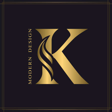 Elegant Capital letter K. Graceful Royal Style. Calligraphic Beautiful Logo. Vintage Gold Drawn Emblem for Book Design, Brand Name, Business Card, Restaurant, Boutique, Hotel. Vector illustration
