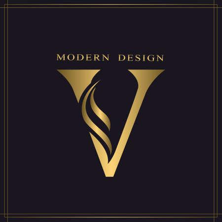 Elegant Capital letter V. Graceful Royal Style. Calligraphic Beautiful Logo. Vintage Gold Drawn Emblem for Book Design, Brand Name, Business Card, Restaurant, Boutique, Hotel. Vector illustration Stock Illustratie