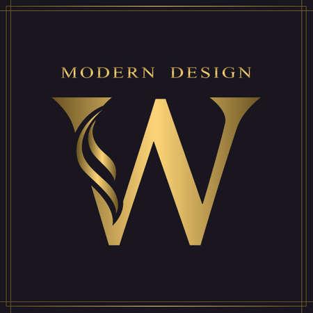 Elegant Capital letter W. Graceful Royal Style. Calligraphic Beautiful Logo. Vintage Gold Drawn Emblem for Book Design, Brand Name, Business Card, Restaurant, Boutique, Hotel. Vector illustration