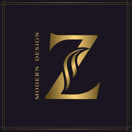 Elegant Capital letter Z. Graceful Royal Style. Calligraphic Beautiful Logo. Vintage Gold Drawn Emblem for Book Design, Brand Name, Business Card, Restaurant, Boutique, Hotel. Vector illustration