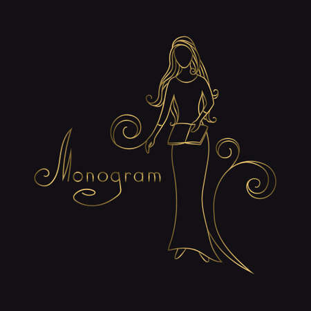 Girl with book in her Hand. Drawn Gold Engraving. Linear Emblem. Monogram Template for Cards, Invitations, Book Design, Restaurant Menu, Educational Services, Salons, Advertising. Vector illustration