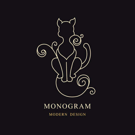 Vintage Cat. Drawn Engraving. Linear Emblem. Monogram Template for Cards, Invitations, Book Design, Restaurant Menu, Educational Services, Salons, Advertising. Childrens Decor. Vector illustration