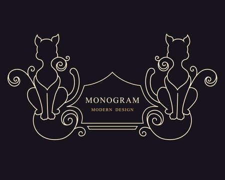 Two Cat. Drawn Engraving. Linear Emblem. Monogram Template for Cards, Invitations, Book Design, Restaurant Menu, Educational Services, Salons, Advertising. Childrens Decor. Vector illustration