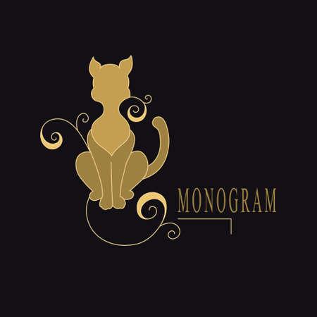 Vintage Cat. Drawn Color Emblem. Monogram Template for Cards, Invitations, Book Design, Restaurant, Educational Services, Salons, Advertising. Calligraphic Childrens Decor. Vector illustration Stock Illustratie