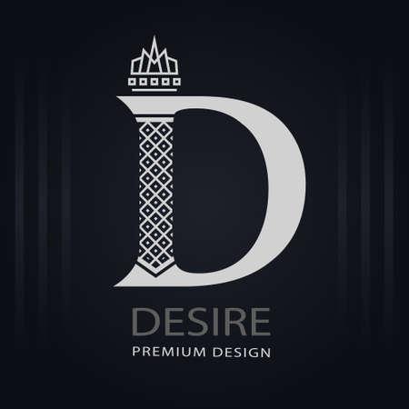 Elegant Capital letter D. Graceful Royal Style. Creative Calligraphic Beautiful Logo. Vintage Drawn Emblem for Book Design, Brand Name, Business Card, Restaurant, Boutique, Hotel. Vector illustration