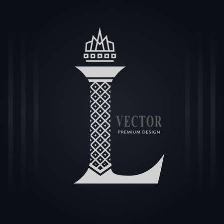 Elegant Capital letter L. Graceful Royal Style. Creative Calligraphic Beautiful Logo. Vintage Drawn Emblem for Book Design, Brand Name, Business Card, Restaurant, Boutique, Hotel. Vector illustration