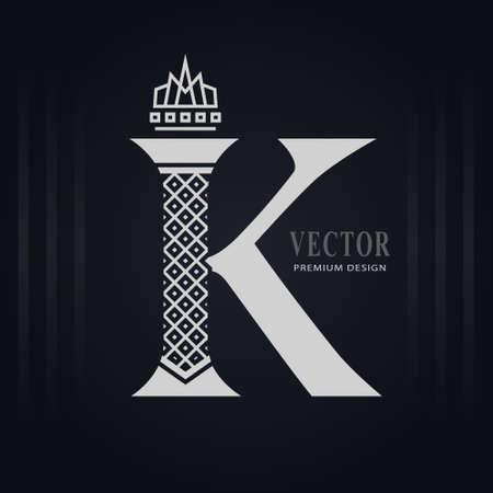 Elegant Capital letter K. Graceful Royal Style. Creative Calligraphic Beautiful Logo. Vintage Drawn Emblem for Book Design, Brand Name, Business Card, Restaurant, Boutique, Hotel. Vector illustration Stock Illustratie