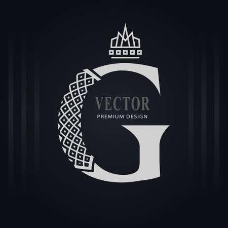 Elegant Capital letter G. Graceful Royal Style. Creative Calligraphic Beautiful Logo. Vintage Drawn Emblem for Book Design, Brand Name, Business Card, Restaurant, Boutique, Hotel. Vector illustration Stock Illustratie