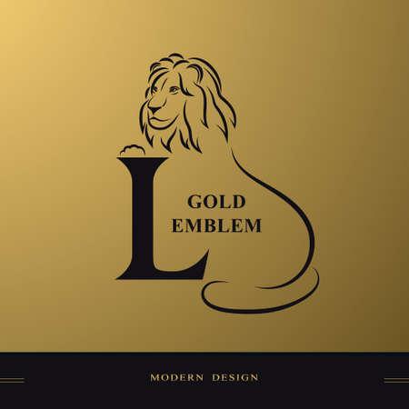 Elegant lion with Capital letter L. Graceful Royal Style. Creative Beautiful Logo. Vintage Drawn Emblem for Book Design, Brand Name, Business Card, Restaurant, Boutique, Hotel. Vector illustration Stock Illustratie