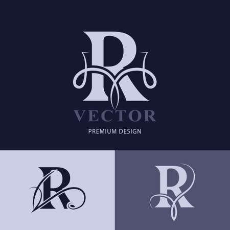 Elegant Capital letter R. Graceful Style. Creative Calligraphic Beautiful Logo. Vintage Drawn Emblem for Book Design, Brand Name, Business Card, Restaurant, Boutique, Hotel. Vector illustration