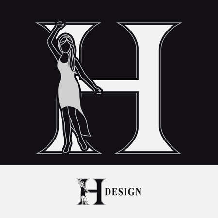 Capital letter H with Pretty Girl. Drawn Monogram for Logo Design, Invitations, Book, Restaurant, Services, Salons, Advertising, Brand Name, Business Card, Boutique. Retro Style. Vector illustration