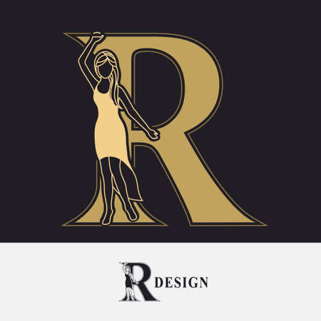 Capital letter R with Pretty Girl. Drawn Monogram for Logo Design, Invitations, Book, Restaurant, Services, Salons, Advertising, Brand Name, Business Card, Boutique. Retro Style. Vector illustration Stock Illustratie