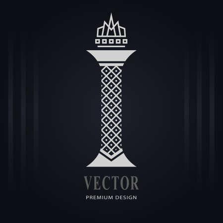 Elegant Capital letter I. Graceful Royal Style. Creative Calligraphic Beautiful Logo. Vintage Drawn Emblem for Book Design, Brand Name, Business Card, Restaurant, Boutique, Hotel. Vector illustration