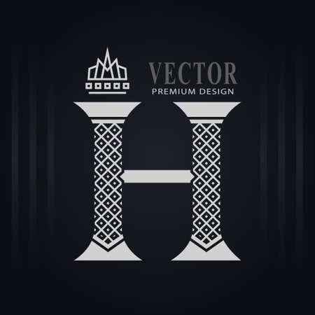 Elegant Capital letter H. Graceful Royal Style. Creative Calligraphic Beautiful Logo. Vintage Drawn Emblem for Book Design, Brand Name, Business Card, Restaurant, Boutique, Hotel. Vector illustration Stock Illustratie
