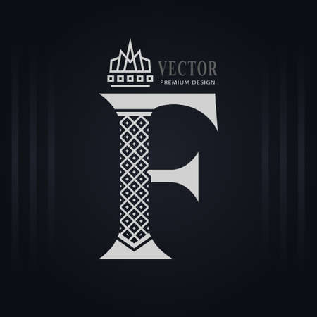 Elegant Capital letter F. Graceful Royal Style. Creative Calligraphic Beautiful Logo. Vintage Drawn Emblem for Book Design, Brand Name, Business Card, Restaurant, Boutique, Hotel. Vector illustration