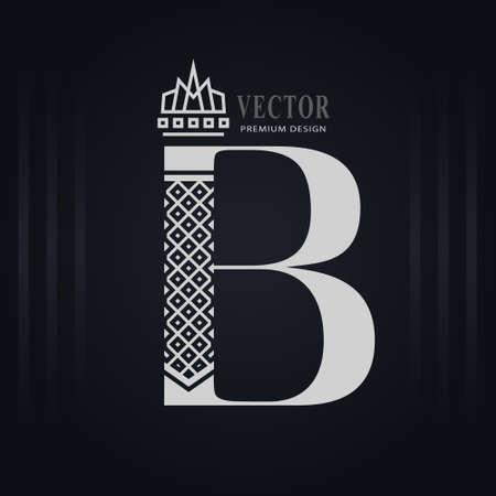 Elegant Capital letter B. Graceful Royal Style. Creative Calligraphic Beautiful Logo. Vintage Drawn Emblem for Book Design, Brand Name, Business Card, Restaurant, Boutique, Hotel. Vector illustration
